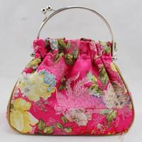 handbags designer fabric - Designer Evening Bags Handbag Silk Fabric Metal Clasp Tote Bag Purse mix color Free