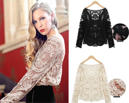 Wholesale Vintage Semi Sexy Sheer Sleeve Embroidery Floral Lace Crochet Tees Tops T shirts