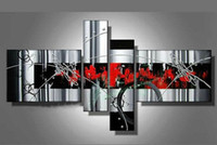 Abstract contemporary oil paintings - Stretched Contemporary White Grey Red Black Modern abstract oil painting canva artwork handmade Modern home office hotel wall art decor Gift