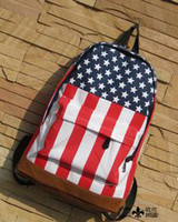 Wholesale 2013 new American flag canvas bag the influx of primary and secondary school bags leisure backpack