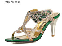 Wholesale new fashion women rhinestone high heeled dress shoes Pierced sandals