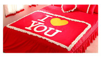 Wholesale King Size Embroidered Red Duvet White Flouncing Quilt Cover for Pairs Bedding Pink Blue Green Colors
