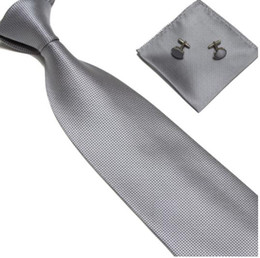Wholesale NEW men gray ties set necktie neck tie set men s ties tower cufflinks H