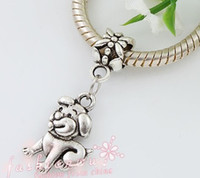 dog charms - 30Pcs Old Silver Plated Cute Dog Charm Beads mm mm