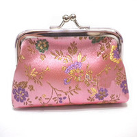 Wholesale Pink Ladies Coin Purses Sale Little Clutch Bags Silk Cloth Clasp Coin Bag mix Color Free