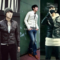 Wholesale New Men Slim Fit Sexy Style PU Leather Jacket Coat Colors