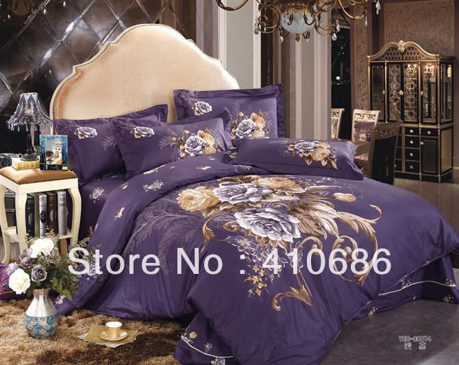 Wholesale King Queen size Purple Peony Printed Bedding set Quilt ...