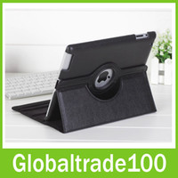 Wholesale Smart Cover Leather Case Degree Rotating Black Bandage For ipad Stylus Screen Protector Free DHL