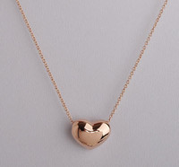 Wholesale 2015 hot mini heart shaped pendant necklace for women OL k gold plated jewelry Rose chains necklaces