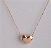 Wholesale 2013 new mini heart shaped pendant necklace k gold filled jewelry Rose plated chains necklaces