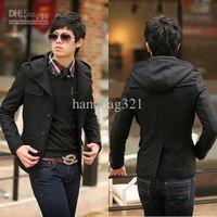 Men s woolen coat Preços-Homens trech coat preto casaco homens moda slim fit woolen short trench coat 4 tamanho frete grátis