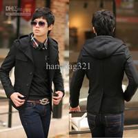 Wholesale hot Men s Outerwear Coat Black Men Fashion Slim fit Woolen Short Trench Coat Size