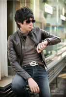 Wholesale Men Slim Fit Sexy Style PU Leather Jacket Coat Black Brown