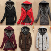 Wholesale 2015 hot women jacket wool blends Womens New Trendy Thicken Hoodie Casual Coat Outerwear Autumn Winter