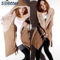 Wholesale Women s Wool Coat NEW Fashion Women Slim Fit Fur Collar Long Coat Khaki Color Size