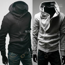 Wholesale Men Casual Zip Up Hoodie shirt Black Gray
