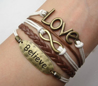Wholesale 15 off Infinity Believe amp Love Bracelet Antique Bronze Charm Bracelet Imitation Leather Bracelet