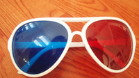 Wholesale Plastic d glasses red Blue sunglasses D TV movie DEF22