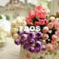 Wholesale On Sale Mini Rose Bouquet Decorative Flowers ornaments silk artificial simulation flower party decoration mix color