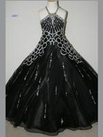 Wholesale 2015 Kids Pageant Dresses Organza Black A Line Little Girls Pageant Party Dress Sequins Glitz Dress GD30
