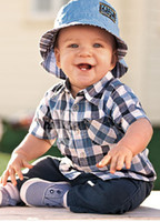 short dress with jeans - Summer baby boy clothes suit plaid shirt with short sleeves jeans trousers baby dresses kids set