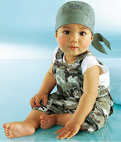 Boy 0-3Year Summer 2013 Popular New Style Baby clothing dashing fashion camouflage suspenders pants + t shirt 2pcs boys casual suit 0-3Year children set XS113