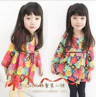 Wholesale 2013 Children Elegant Fabric Cotton Hawaii Slim Dress Flower Printed Long Sleeve Kids Dresses