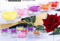 Wholesale Glass heart shaped scented candles romantic creative smokeless suitor candles five colors