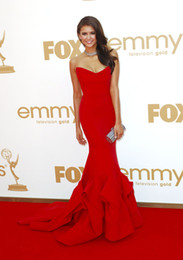 Emmys 2012 Nina Dobrev in Red Satin Stapless Fashion Mermaid Dress Pageant Celebrity Gown