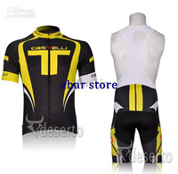 Wholesale NEW CASTELLI CAS yellow Short Sleeve Cycling Jerseys Set Cycling Wear Clothing BIB Shorts CB014