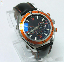 Wholesale - Mens Watch Orange Professional Planet Ocean Co-Axi Leather Chronograph Wristwatch Men Wa