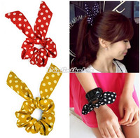 Wholesale Hot Selling Hot Colors Japan Korean Style Rabbit Ponytail Holder Ear Bow Hair Tie Bracelet