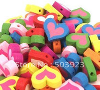Wholesale Mixed Colors Cute heart Wood Beads mm Fashion Children Jewelry Findings