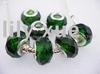 Wholesale Hot sale crystal beads dark green Glass European Charms Beads with large hole beads mm