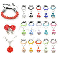 Wholesale Shamballa Set Matching Bracelet Pendant Necklace Earrings Czech Crystal Disco Clay Ball