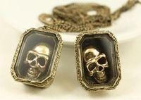 Wholesale New Punk Vintage Bronze Long Chain Box Skull Pendant Necklace