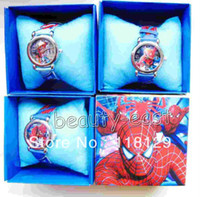 Wholesale New styles watches Spider man Cartoon Wristwatch Kids Lovely Fashion Watches Children Watch With Gift Box