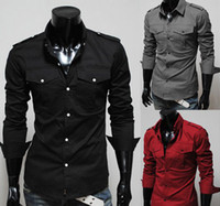 Wholesale Mens Casual Shirts Long sleeve Slim Shirt red black grey top quality