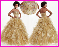 Wholesale Vintage Gold Crystals Organza Ruffles Ball Gown Corset Quinceanera Dresses E2349