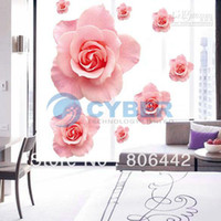 Wholesale Decorative Combination D Pink Rose Flower Wall Sticker Removable Wallpaper Art Decor Home Bedroom F