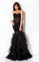 Wholesale Black Prom Dresses Gowns Hot Sale Sexy Mermaid Sweetheart Orangza And Lace Beaded Sexy JOV17202