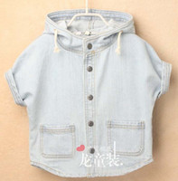 Wholesale Children Poncho Baby Blue Denim Cloaks Fashion Short Sleeve Hooded Poncho Child Clothing Kids Coats
