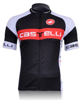 Wholesale 2011 Castelli black and red short sleeved cycling jerseys only men bicycle clothing shirts S XL