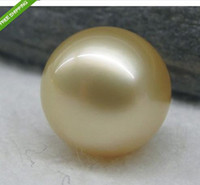 Wholesale PERFECT ROUND AAA MM GOLD SOUTH SEA LOOSE PEARL HALF HOLE
