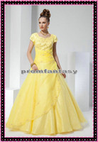 2013 Sweetheart Neckline Short Sleeves Beads Appliques Yello...