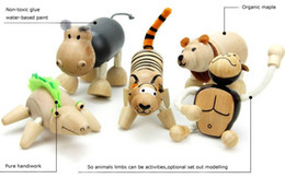 Anamalz Maple Wood Handmade Moveable Animals Toy Farm Animal Wooden Zoo Baby Educational Toys