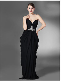 Wholesale Sheath Column Sweetheart Floor length Chiffon spot Evening Dress with beading