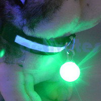 Wholesale Circular LED Pendant Puppy Safety Night Light Up Pet Dog Keychain Tags Colors
