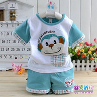 unsex 6-9 Months Summer 2013 Summer Baby Infant clothes Suits 2pcs(Short trousers+t-shirt)Children Boys clothing sets 2color