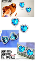 Wholesale 10 Pair Titanic Heart of Ocean Blue Crystal Rhinestone Ear Stud Earrings